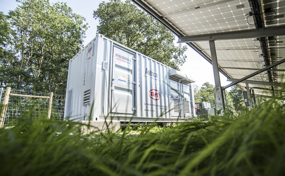 One of the Anesco storage units that store power from solar panels | Credit: Anesco
