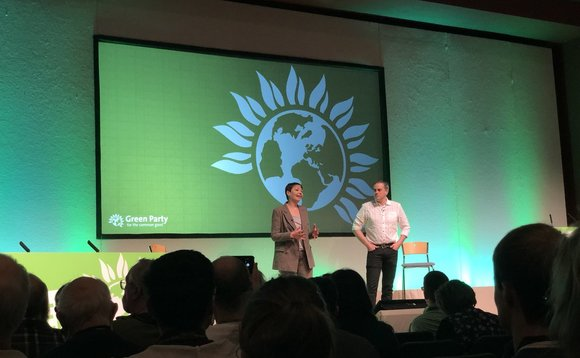 Caroline Lucas and Jonathan Bartley address the Green Party conference | Credit: Green Party