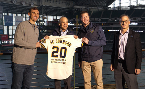 SC Johnson Chairman and CEO Fisk Johnson, Brewers President of Business Operations Rick Schlesinger, and Pitchers Brent Suter and Corey Knebel announce partnership at Miller Park.